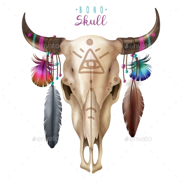 GraphicRiver Boho Cow Skull 20451580