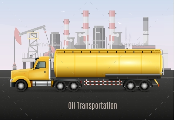 Oil Transportation Yellow Truck Realistic - Business Conceptual