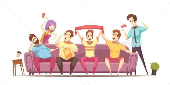Sedentary Lifestyle Retro Cartoon Design - People Characters