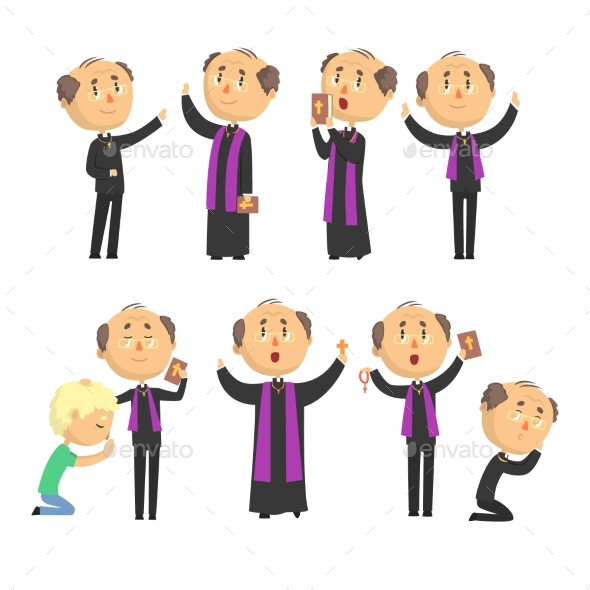 Cartoon Catholic Priest Reading Prayer, Blessing - Religion Conceptual