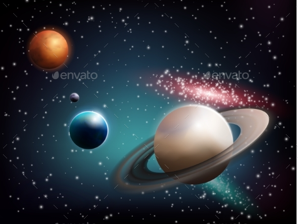 GraphicRiver Planet Set Realistic Composition 20451633