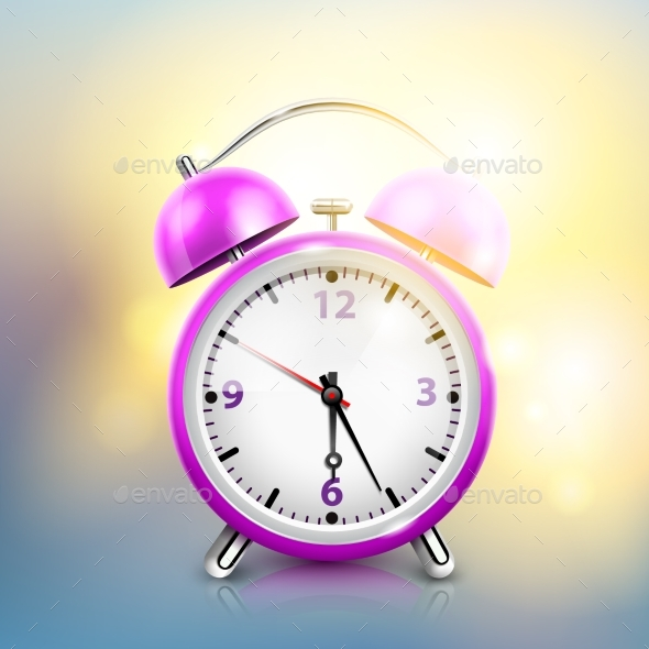Realistic Alarm Clock Background - Objects Vectors