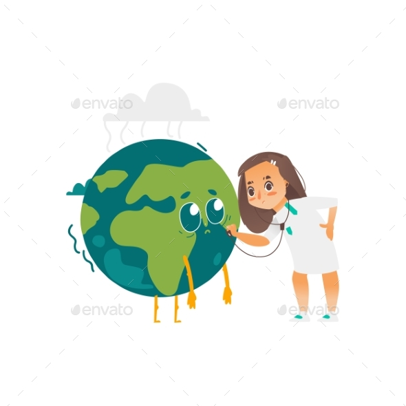 Vector Doctor Girl Listens To Earth Planet Lungs - Miscellaneous Vectors