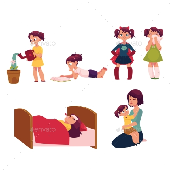 GraphicRiver Daily Routine Set Little Girl Helping Mother 20451725