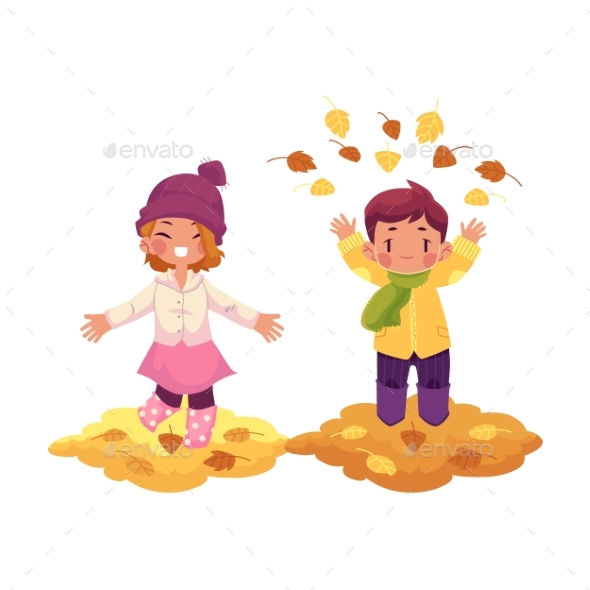 Vector Girl, Boy and Autumn Leaves Isolated - People Characters