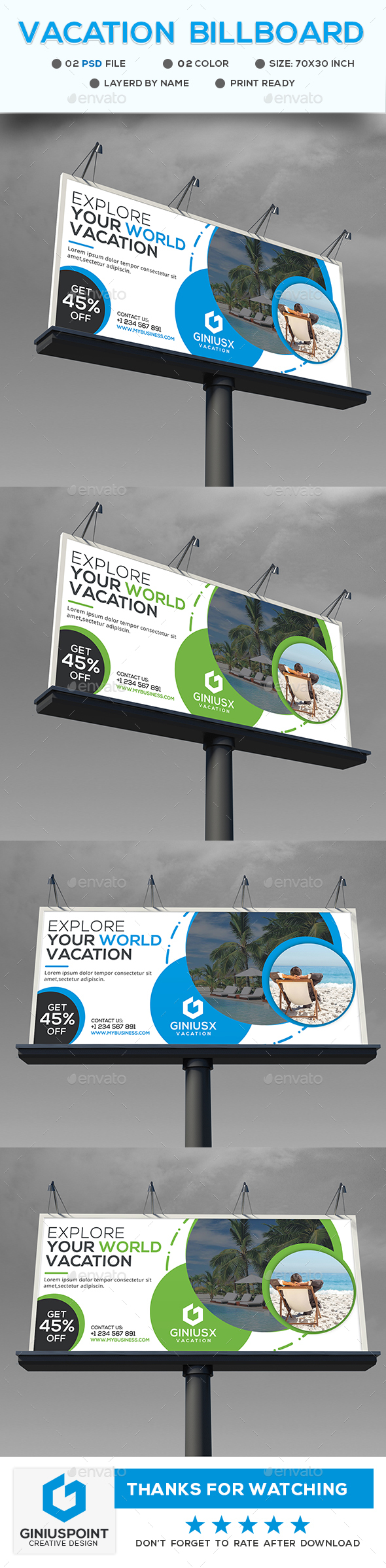 Vacation Billboard - Signage Print Templates