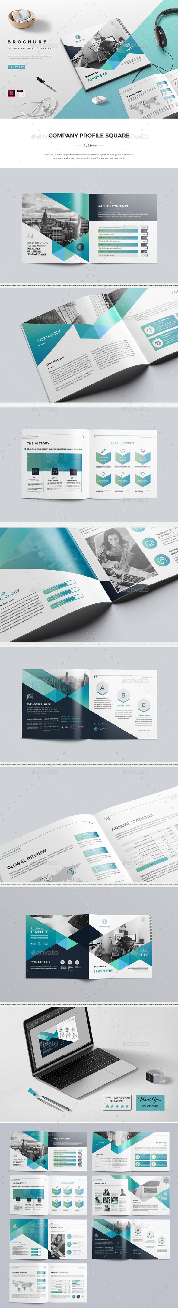 Company Profile Square Brochure. 16 Pages - Corporate Brochures