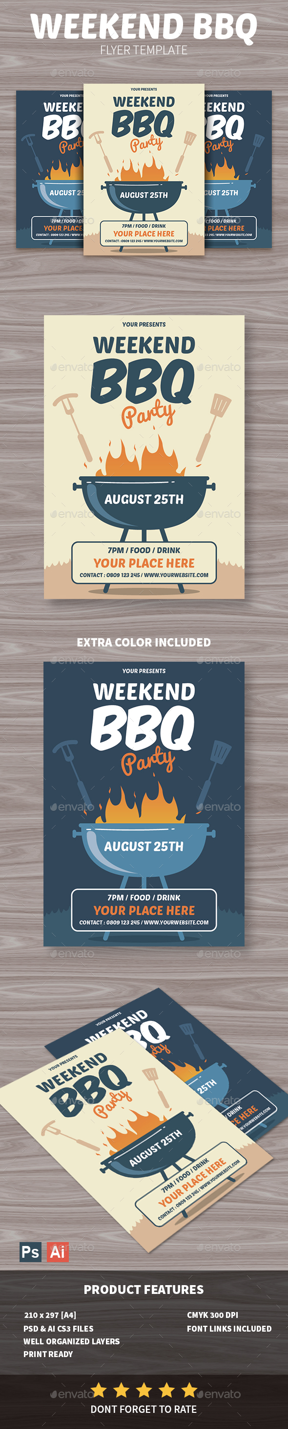 GraphicRiver Weekend BBQ Party Flyer 20451972