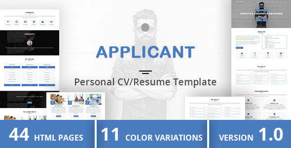 Html Online Cv  Resume Templates From Themeforest