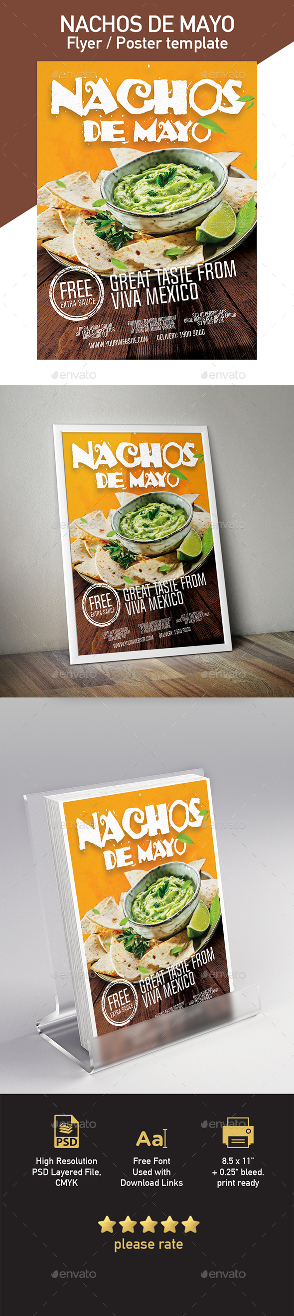 Nachos Flyer / Poster Template - Restaurant Flyers