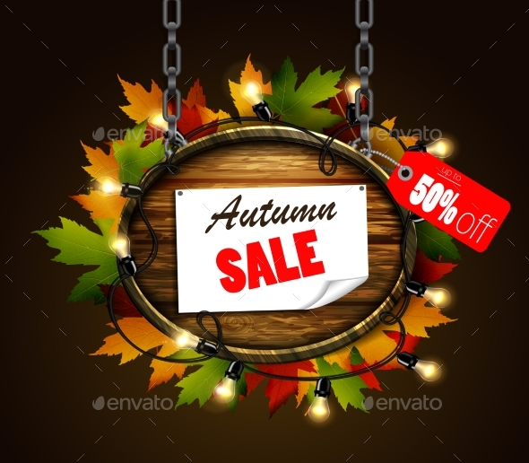GraphicRiver Autumn Sale Wooden Signboard 20452178