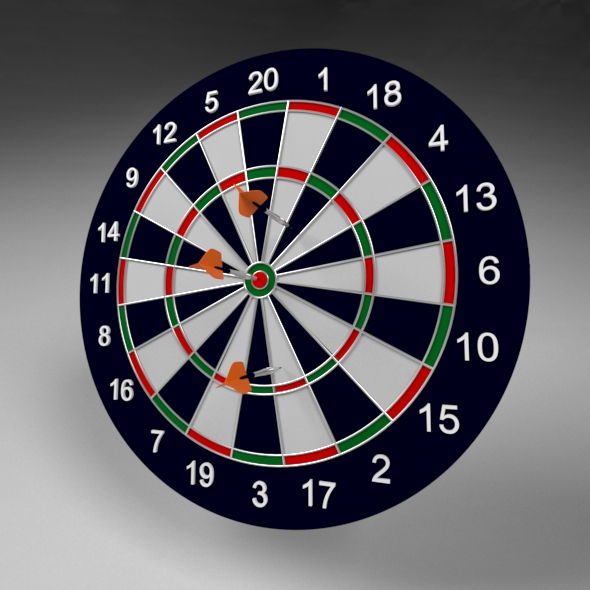 Dart and Dart Board - 3DOcean Item for Sale