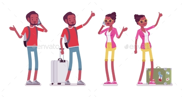 Black Male and Female Tourist Standing, Phone - Travel Conceptual