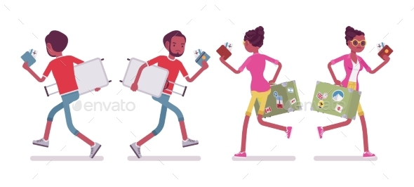 Black Male and Female Tourist Running - Travel Conceptual