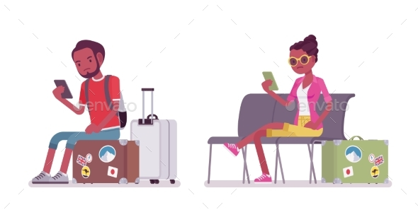 Black Male and Female Tourist Sitting - Travel Conceptual