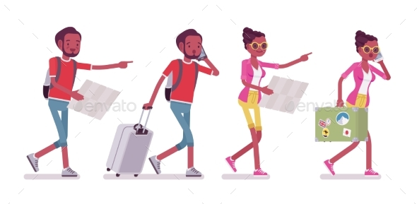 Black Male and Female Tourist Walking with Map - Travel Conceptual