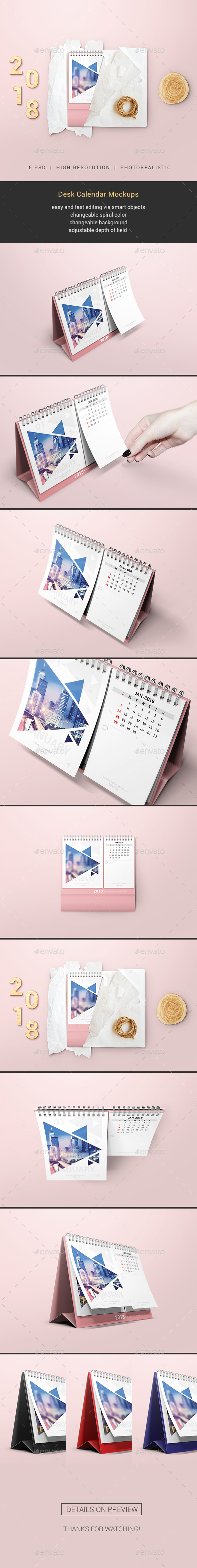 GraphicRiver Desk Calendar Mockups 20452663
