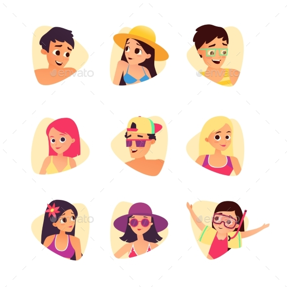 Set of Summer Cartoon Characters. People Avatars - People Characters