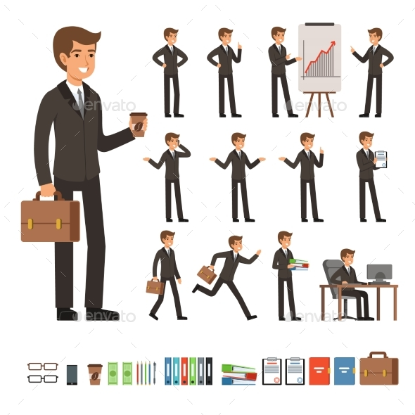 Vector Set of Businessman in Different Action - People Characters