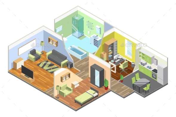 3d Interior of Modern House with Kitchen, Living - Objects Vectors