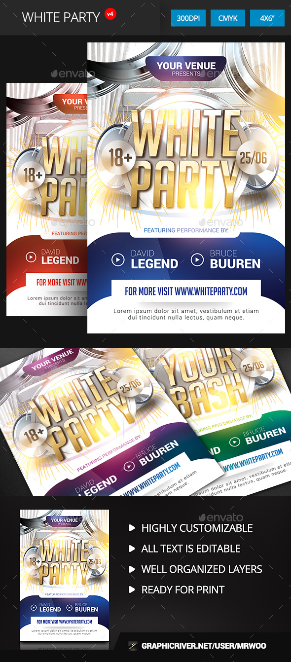 White Party Flyer v4 - Clubs & Parties Events