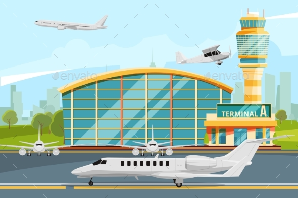 Modern Building of Airport Terminal with Control - Objects Vectors