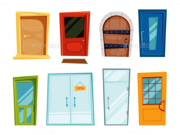 Closed Doors of Different Types. Vector - Objects Vectors