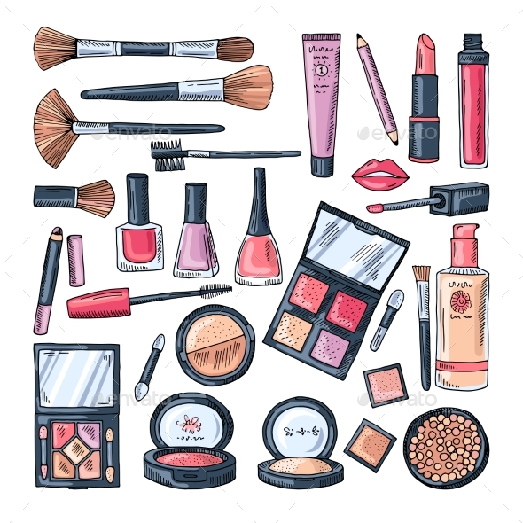 Makeup Products for Women. Colored Hand Drawn - Objects Vectors