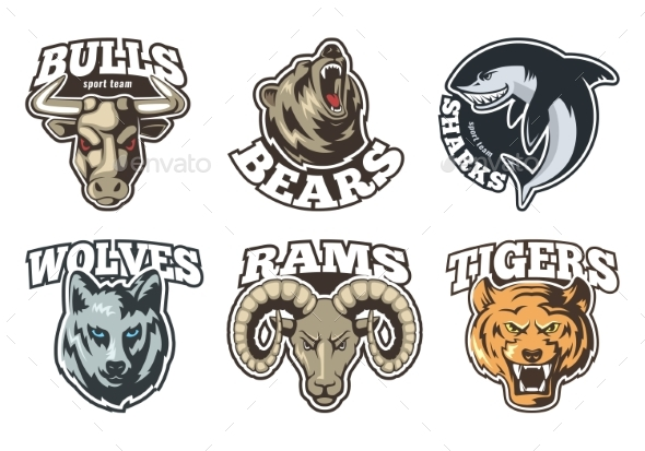 Sport Labels Set with Different Animals. Company - Miscellaneous Vectors