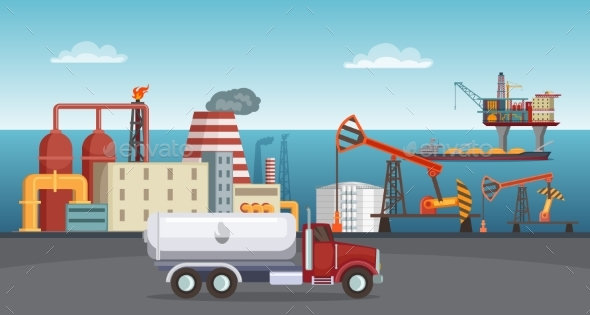Background Illustration of Petroleum Industry. Oil - Miscellaneous Vectors