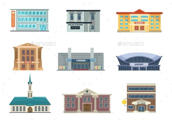 Different Municipal Buildings. Police Station - Buildings Objects
