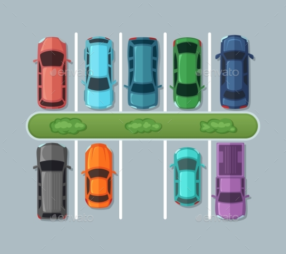 Top View Parking Cars on Asphalt in Urban Map - Objects Vectors