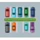 Top View Parking Cars on Asphalt in Urban Map