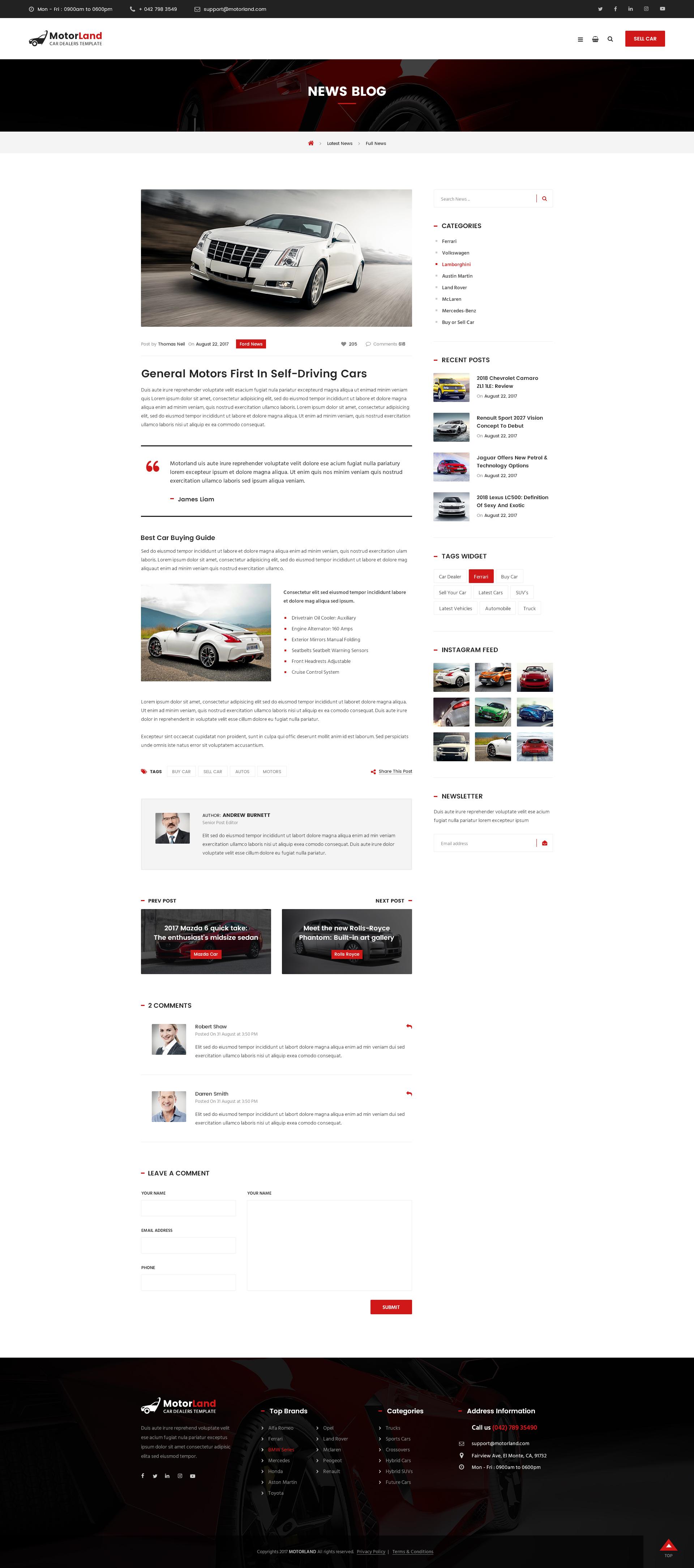 Motorland car dealer psd theme