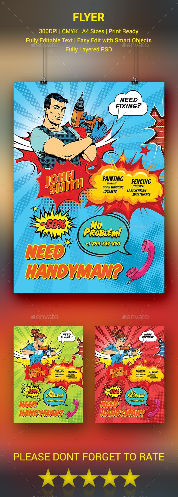 GraphicRiver Comic Style Handyman Flyer 20452835