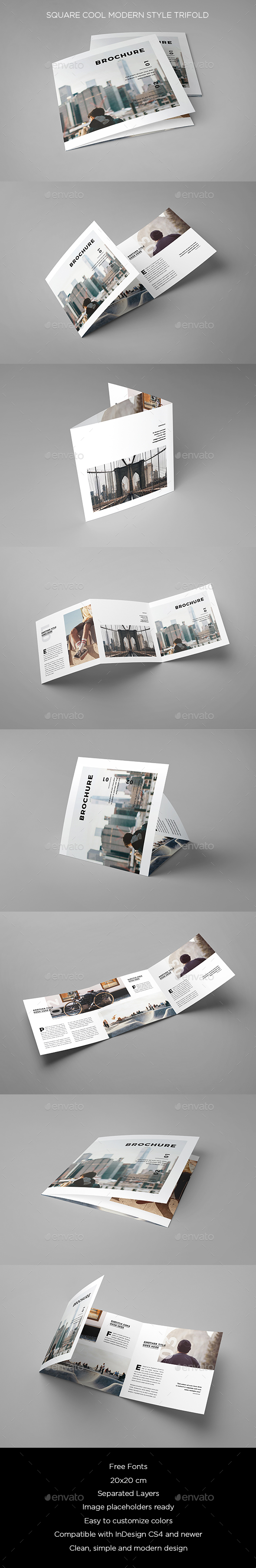 Square Cool Modern Style Trifold - Brochures Print Templates