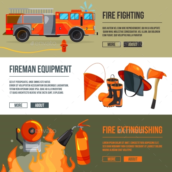 Horizontal Banners Set of Fireman Tools Pictures - Objects Vectors