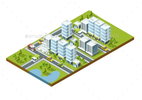Isometric Perspective City with Streets, Houses - Buildings Objects