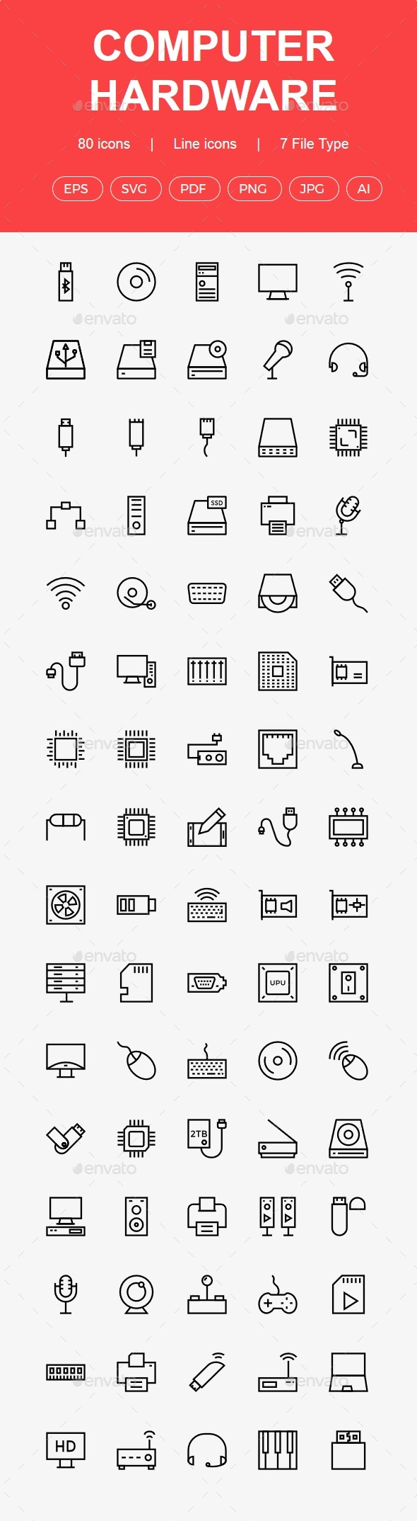 50+ Computer Hardware line icon - Business Icons