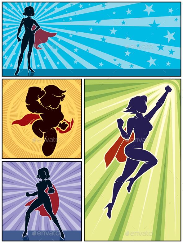 Super Heroine Banners 1 - Characters Vectors