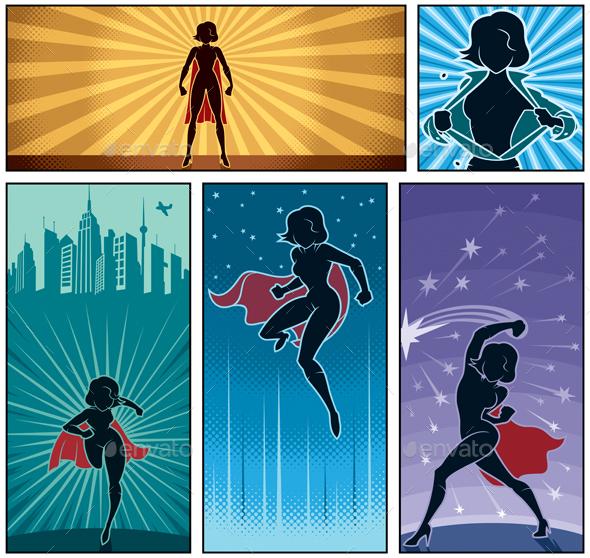 Super Heroine Banners 2 - Characters Vectors