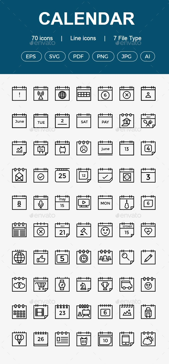 GraphicRiver 50& Calendar line icon 20453473