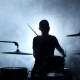 Musician Plays Professionally Good Music on Drums Using Sticks. Smoky Background. Silhouette - VideoHive Item for Sale
