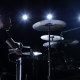 Musician Plays Professionally Music on Drums. Black Background. Back Light. Silhouette - VideoHive Item for Sale