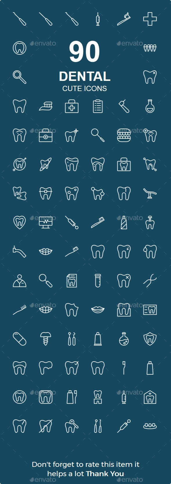 Dental Line Icon - Web Icons