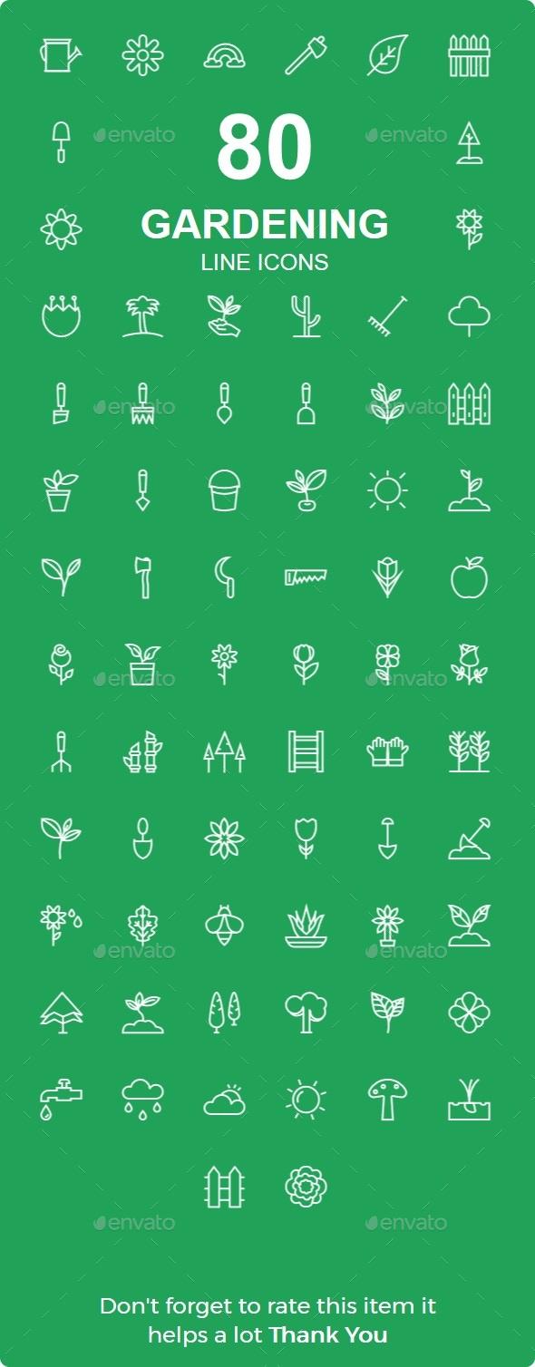 50+ Gardening line icons - Icons