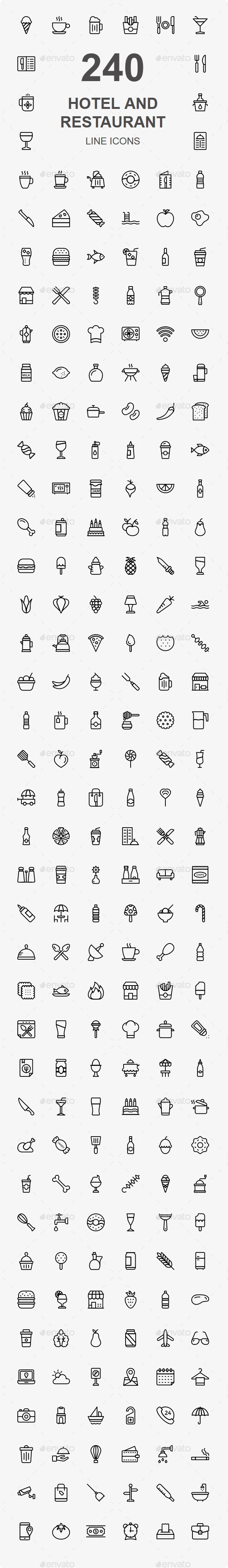 200+ Hotel and Restaurant line icons - Business Icons