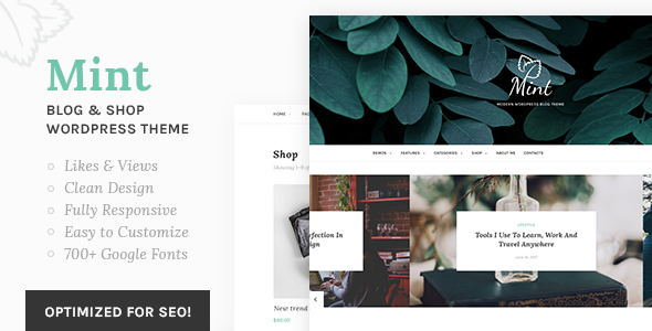 Mint - A Beautiful WordPress Blog and Shop Theme
