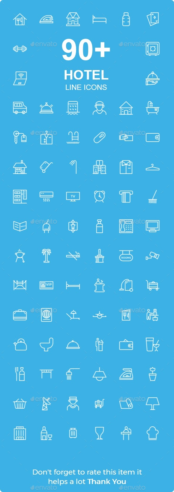 Hotel & Resturent line icon - Food Objects