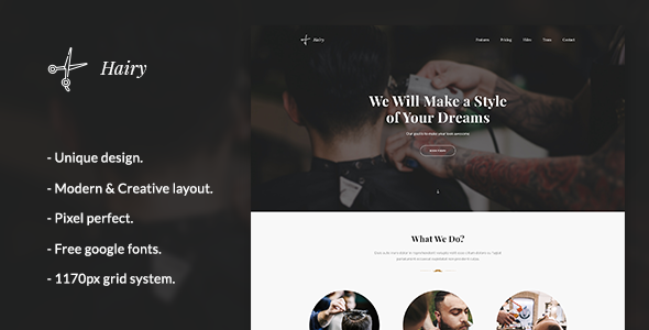 Hairy - Barber Landing PSD Template